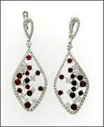 Vintage Inspired Ruby and Diamond Drop Earrings