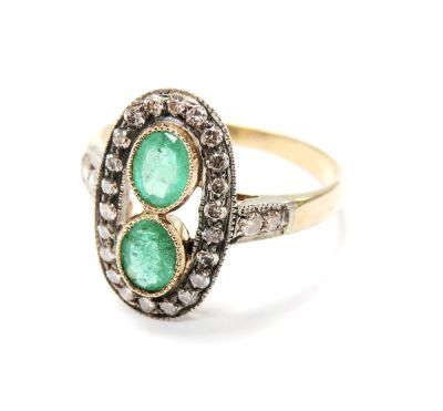Vintage Inspired Toi et Moi Emerald and Diamond Ring