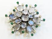 Vintage Moonstone Emerald Pearl Brooch
