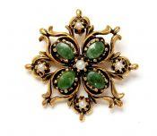 Vintage Jade Nephrite and Pearl Brooch/Pendant