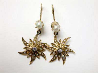 Vintage Pearl and Diamond Star Burst Drop Earrings