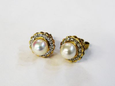 Vintage Pearl and Diamond Stud Earrings