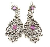 Vintage Pink Sapphire and Diamond Earrings