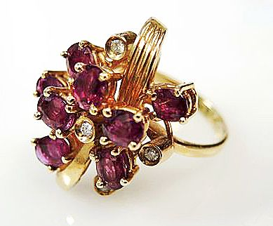 Vintage Ruby and Diamond Cluster Ring