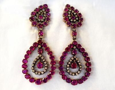 Vintage Ruby and Diamond Drop Earrings