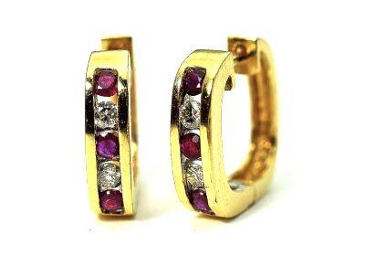 Vintage Ruby and Diamond Huggie Earrings
