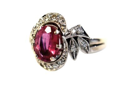 Vintage Style Pink Tourmaline and Diamond Ring