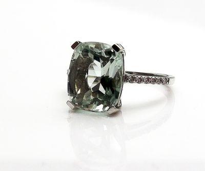 Vintage Style Prasiolite and Diamond Ring