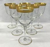 Vintage Acid Etched Gold Rimmed Crystal Claret Wine Glasses