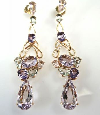 Vintage Amethyst and Quartz Drop Earrings