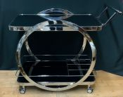 Vintage Art Deco Inspired Chrome and Black Glass Bar Cart