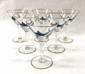 Vintage Enamelled Swordfish Motif Cocktail Glasses, Circa 1940s