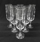 Vintage Etched Crystal Champagne Flutes