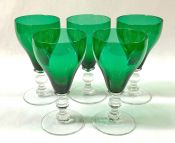 Vintage Green Glass Tulip Shaped Wine Glasses, Mid 20th Century