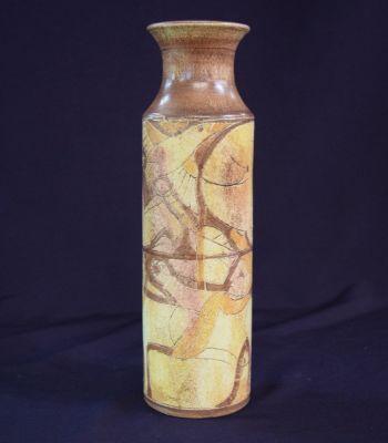 Vintage Harlander Earthenware Cylindrical Vase