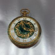 Vintage Italian Florentine Pocket Watch Powder Compact