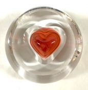 Vintage Moser Rosalin Crystal Paperweight with Rose Coloured Heart