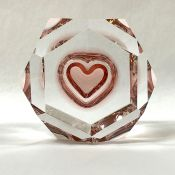 Vintage Moser Rosalin Cut Crystal Paperweight with Rose Coloured Heart