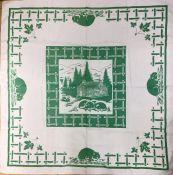 Vintage Printed Linen Tablecloth
