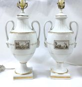 Vintage Richard Ginori Porcelain Lamps, Fiesole (Italian Scenes) Pattern