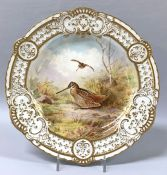 Vintage Royal Crown Derby Cabinet Plate Of Two Woodcocks