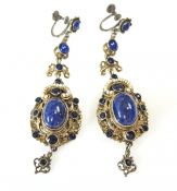 Vintage Sterling Silver Lapis, Seed Pearl And Paste Renaissance Drop Earrings
