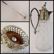Victorian Grape and Vine Silver Plate Bottle Coasters - Frigast Golf Club Drink Chiller - Cut Crystal Claret Jug