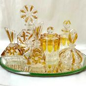 Vintage Yellow and Clear Glass Perfume Bottles and Dresser Jars