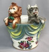 Whimsical Meissen Jardiniere Of Two Dogs In A Basket