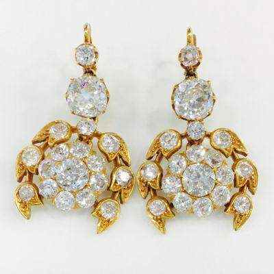 Antique Diamond Floral Earrings