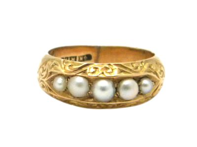 Birks Yellow Gold and Pearl Ring