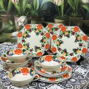 Adam's Titian Ware Maytime Pattern Hand Painted Earthenware Octagonal Plates