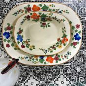 Adam's Titian Ware Sunshine Pattern Hand Painted Earthenware Serving Pieces