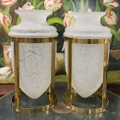 Art Deco Style Frosted Crackle Glass Amphora Shaped Vases In Brass Frames