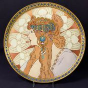 Art Nouveau Hand Painted Limoges Tray By Alphonse Mucha