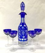 Bohemian Crystal Decanter and Long Stemmed Crystal Sherry Glasses, Cobalt Blue Cut to Clear