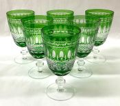 Bohemian Crystal Forest Green Cut To Clear Claret/Water Goblets
