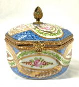 French Hand Painted Porcelain Dresser Box