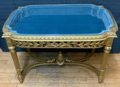 Gilded Finish Louis XVI Style Shadow Box Display Table