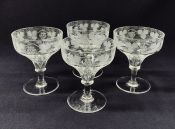 Grape and Vine Etched and Cut Crystal Champagne Coupes, English, Victorian
