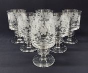 Hand Engraved Crystal Rummers, Signed And Dated Stephen Rickard 1980