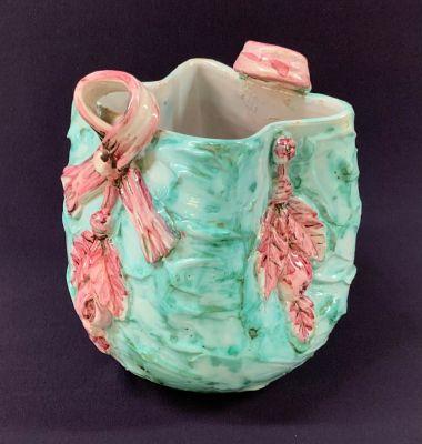 Italian Hand Painted Pottery/Majolica Cache Pot/Vase, Mid 20th Century