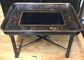 Large Black Japanned Lacquerware Tray-Table/Coffee Table