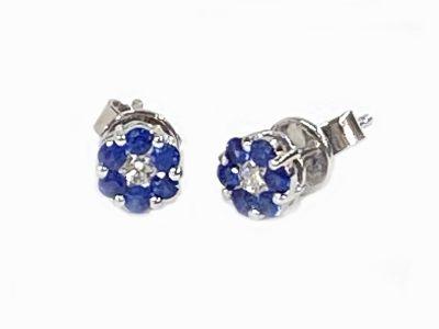 Modern Diamond and Sapphire Earrings