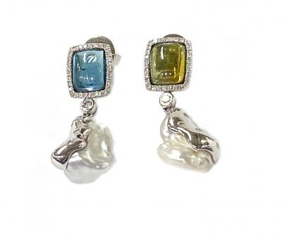 Modern Keshi Pearl Blue and Green Tourmaline Diamond Drop Earrings