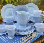 """Pyrex """"Delphite Blue"""" Glass Dishes, By Corning Glass Works Of Toronto Canada"""