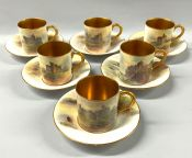 Royal Worcester Hand Painted Coffee Cans And Saucers, Signed J. Stinton,Set Of 6, Dated 1925