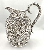 Samuel Kirk & Son Company Repousse Pattern Sterling Silver Water Pitcher