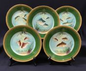 Set Of 12 Limoges Fish Plates, Hand Painted, Circa 1930s