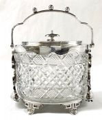 Victorian Silver Plate And Cut Crystal Biscuit Barrel, English, Circa 1890